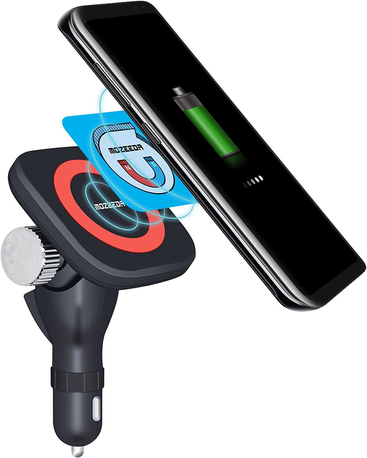 VIEE Wireless Car Charger, Qi Magnetic Wireless Charging Mount 180° Adjustable Cordless Car Charging Cradle for Samsung, iPhone and All Android Smartphones (Car Charger+Smart Magnet)