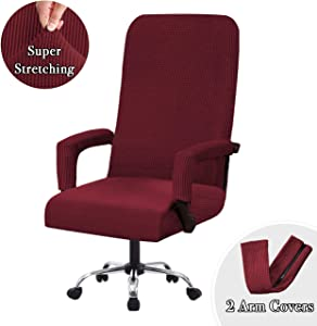 Flamingo P Stretch Office Chair Covers Computer Chair Universal Chair Cover Slipcovers Contemporary High Back Office Chair Covers, Thick Checked Jacquard, 2 Arm Covers (Wine, Medium)