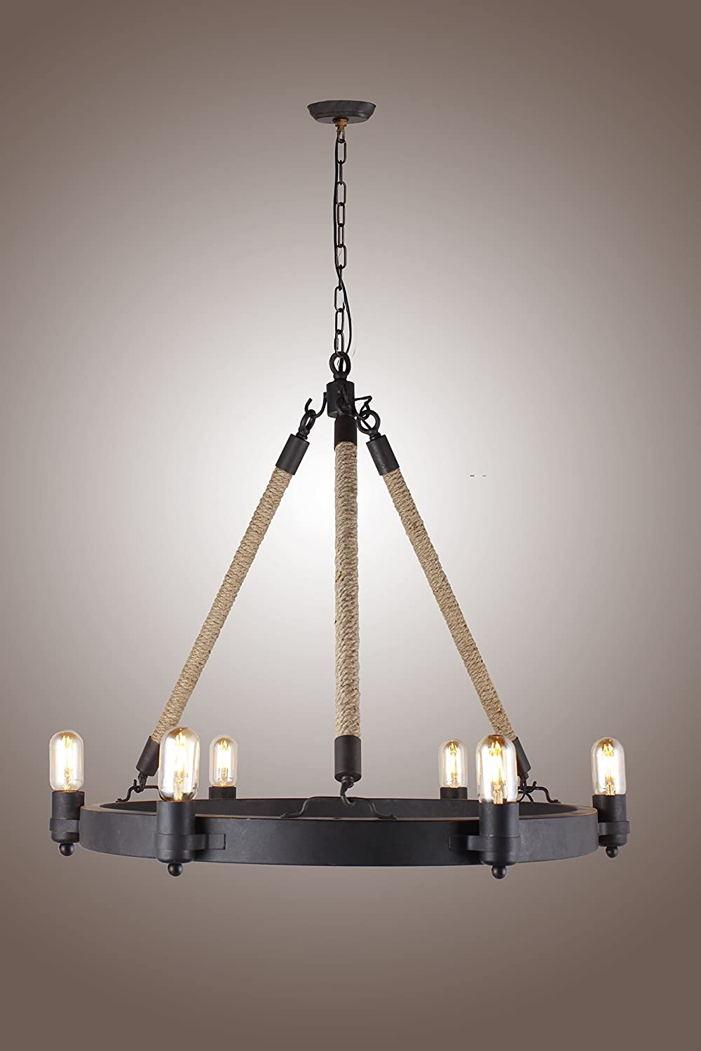 Deluxe Lamp Rancheria Falls 6 Light Candle Chandelier Antique with Rope Pendant