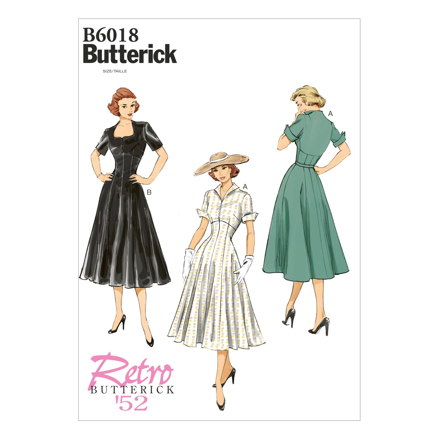 1950s Sewing Patterns | Swing and Wiggle Dresses, Skirts 1952 Butterick Patterns B6018A50 Misses Dress Sewing Template Size A5 (6-8-10-12-14) $7.94 AT vintagedancer.com