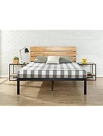 zinus sonoma metal u0026 wood platform bed with wood slat support queen