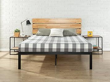 zinus sonoma metal wood platform bed with wood slat support queen - Wood Platform Bed Frame