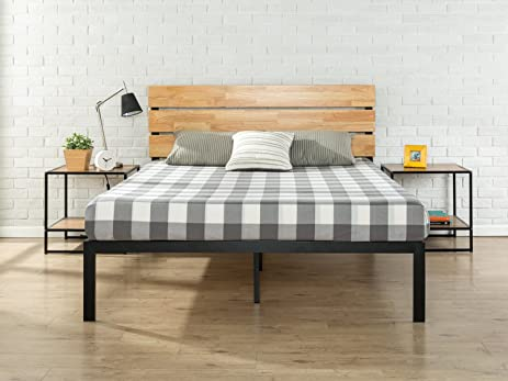 zinus sonoma metal wood platform bed with wood slat support queen - Wood Platform Bed Frame Queen