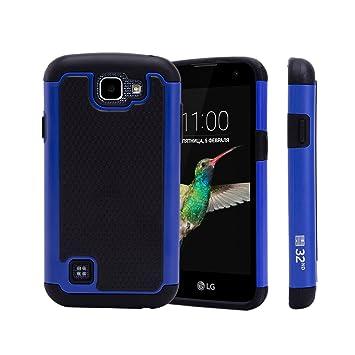 32nd® Funda Rígida Anti-Choques de Alta Proteccion para LG K4 (K120E) Carcasa Defensora de Doble Capa - Azul
