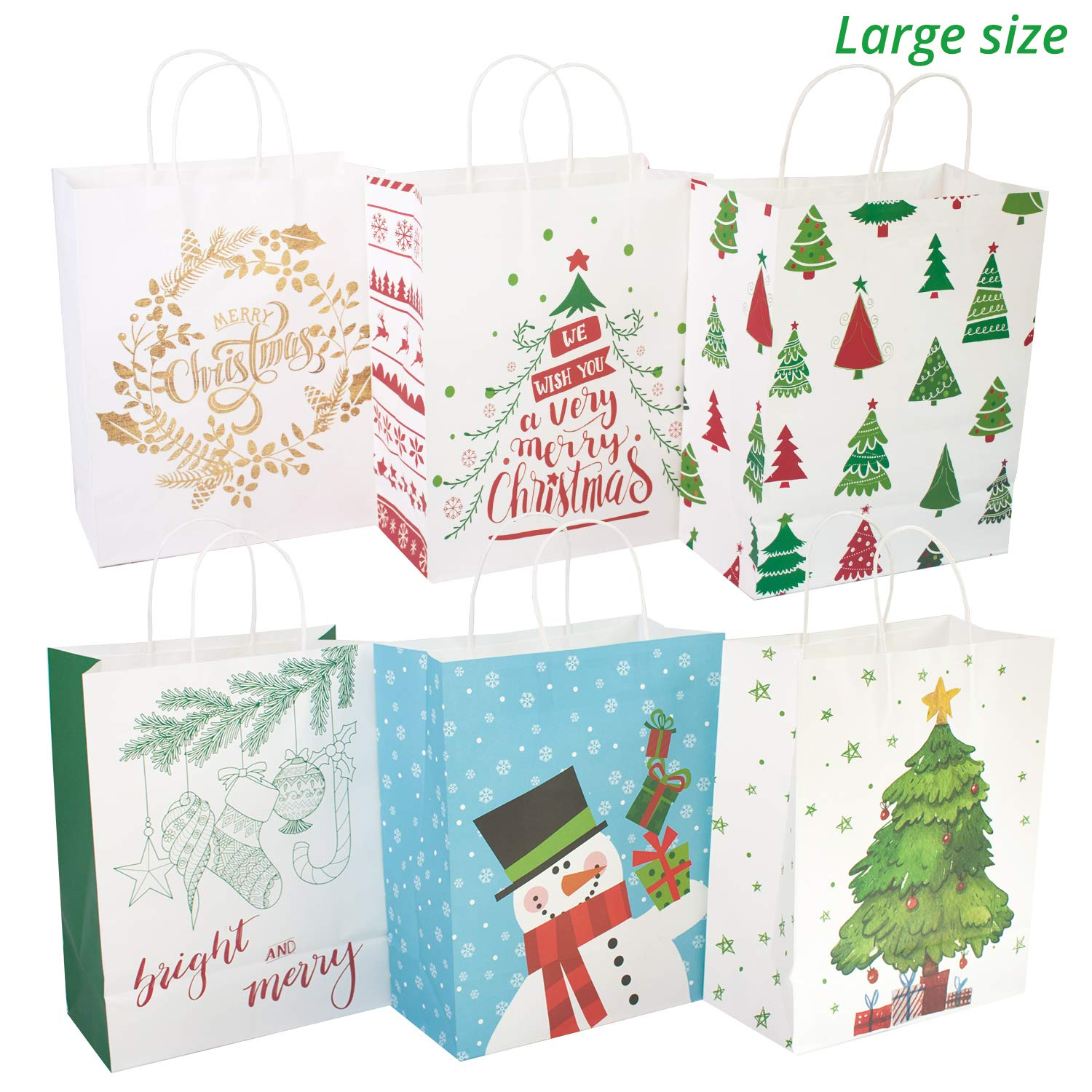 Amazon 24 White Kraft Christmas t bags Assorted sizes with