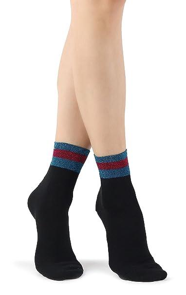 Mixmi Boutique Calcetines tobilleros de algodón retro negro elegante para mujer con rayas de purpurina: Amazon.es: Ropa y accesorios