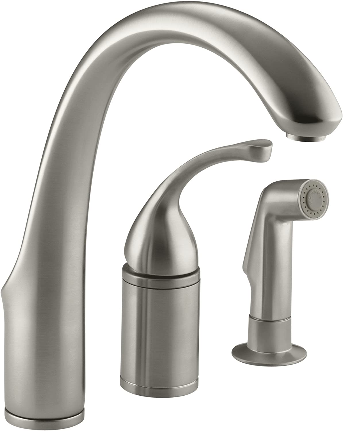 KOHLER K-10430-BN Fort R 3-Hole Remote Valve Sink 9 spout with Matching Finish sidespray Kitchen Faucet, Vibrant Brushed Nickel