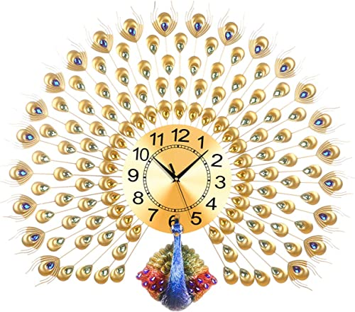LANGSHI Home Decor European Peacock Wall Clock 5620110-GOLD Crystal Luxury Living Room Clock Creative Personality Modern Art Decoration Wall Clock Mute Wall Clock Quartz Clock