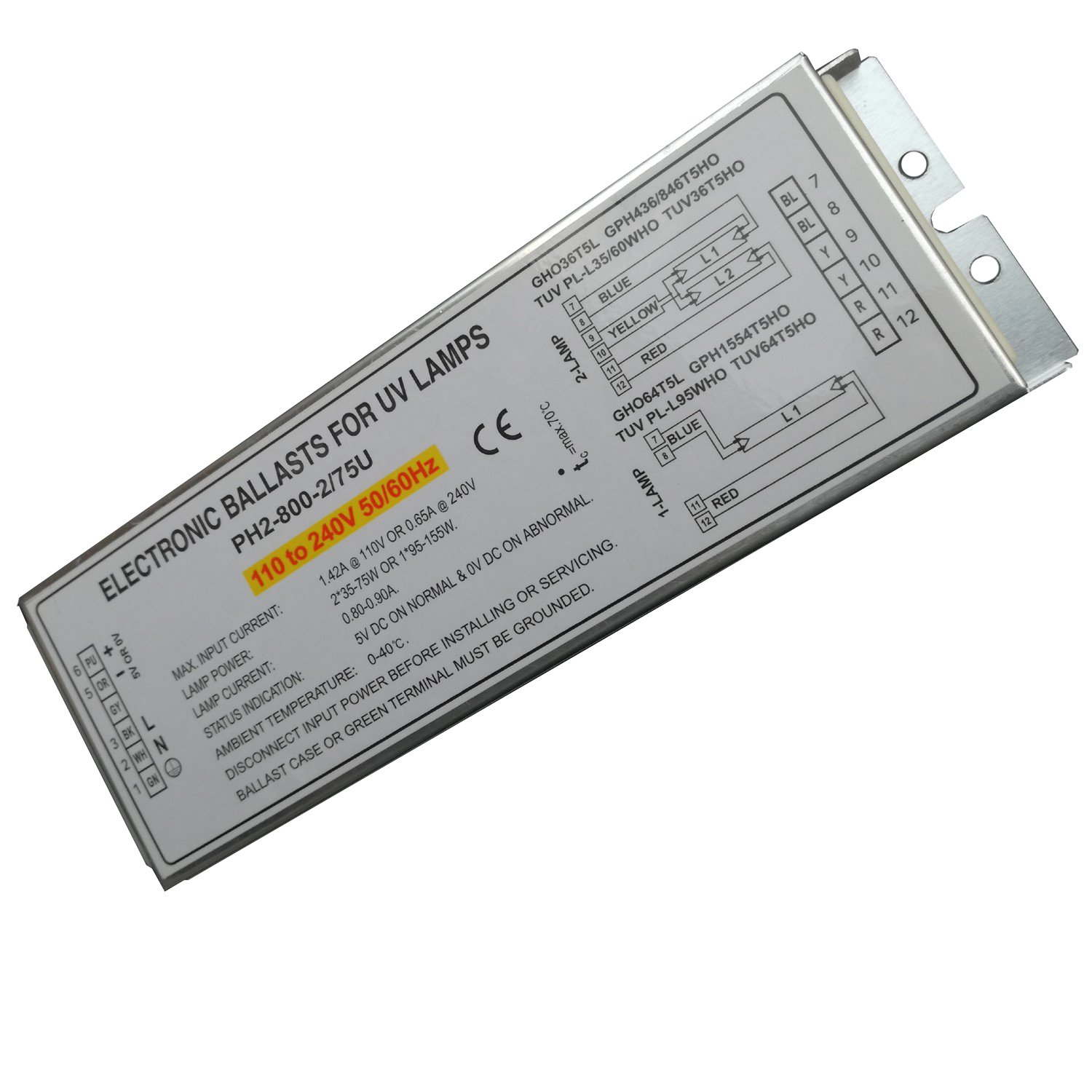 150W Germicidal Lamp Electronic Ballasts for UV Lamp GHO36T5L GPH436/846T5HO TUV PL-L35/60WHO TUV36T5HO,PH2-800-2/75U, Pack of 2pcs SHENZHEN QIJIALE Co. ltd