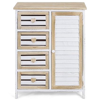 Storage Cabinet 4 Bin Type Drawers Free Standing Storage Chest Cupboard  Wooden