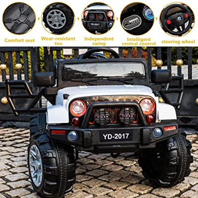 SuxiDi Jeep XR Electric Ride On Car with Remote Control for Kids | 12V Power Battery Kid Car to Drive with 2 Motors, 2.4G Radio Parental Control, Openable Door, EVA Wheel (White): Toys & Games
