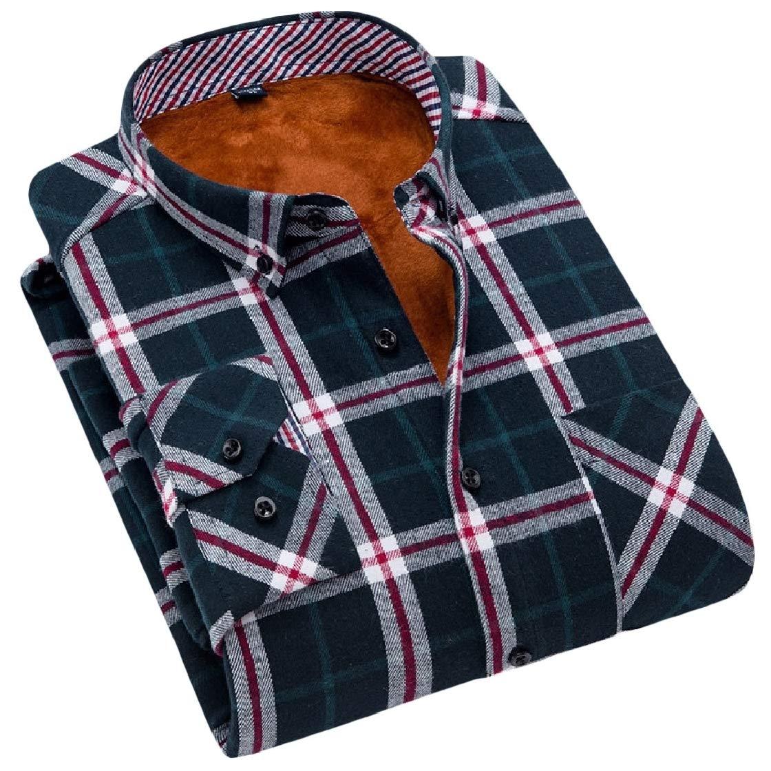 YUNY Men Fall Weinter Fit Thick Velvet Lapel Warm Plaid Work Flannel Shirt AS6 M
