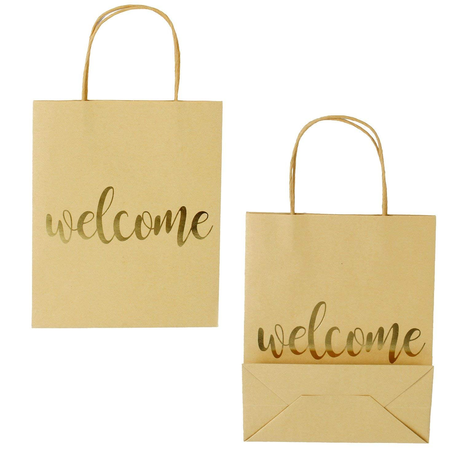 LaRibbon Medium Welcome Gift Bags - Gold Foil Brown Paper Bags with Handles for Wedding, Birthday, Baby Shower, Party Favors - 12 Pack - 8'' x 4'' x 10'' by LaRibbons (Image #1)