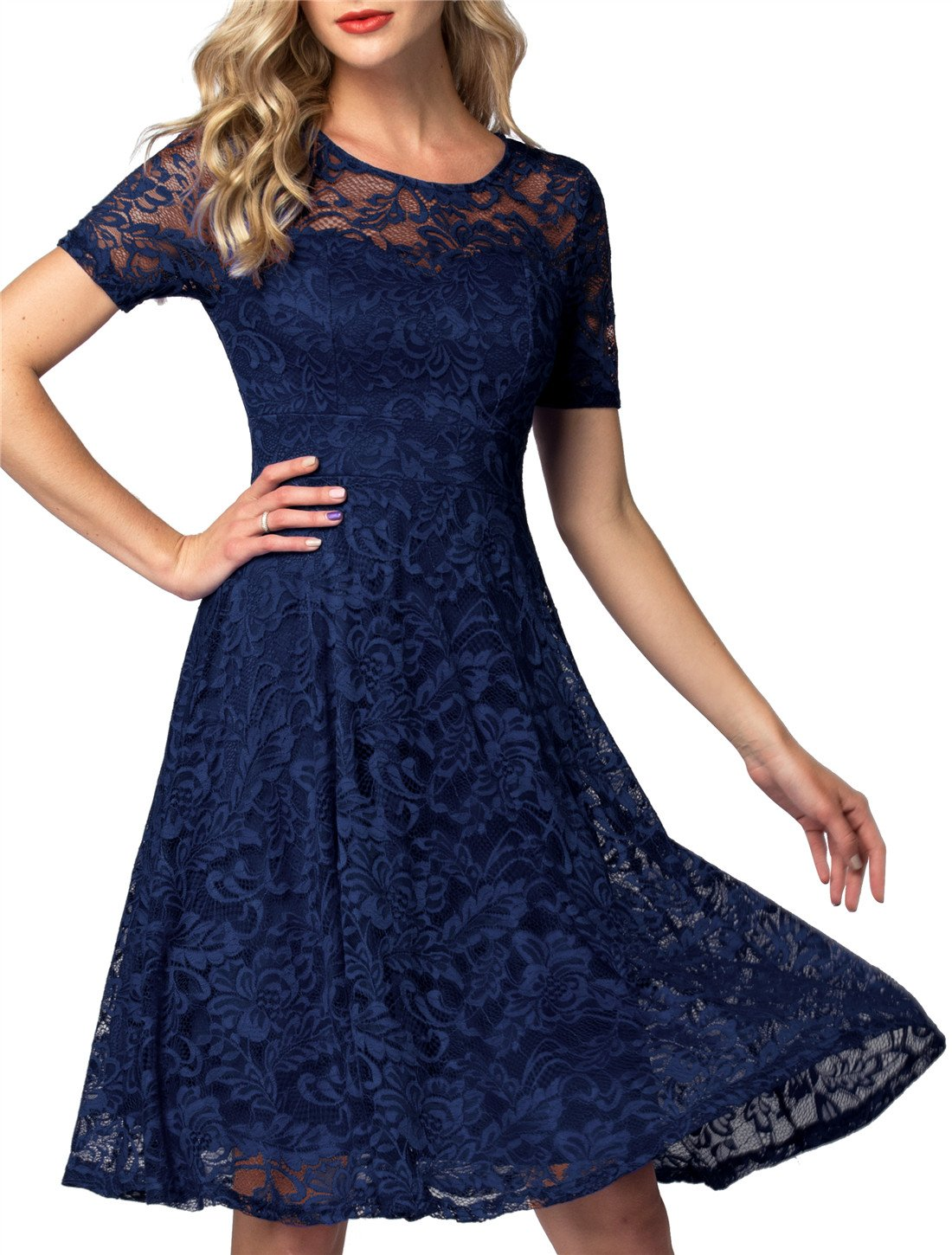 AONOUR AR8006 Women's Vintage Floral Lace Elegant Cocktail Formal Swing Dress with Short Sleeve Navy M by AONOUR