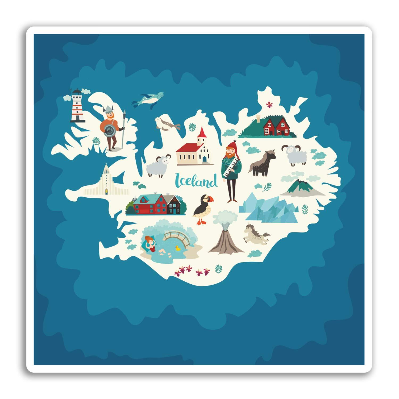 2 x 10cm Islandia Islandia Mapa de vinilo pegatinas del viaje del equipaje # 19287 10 cm de ancho
