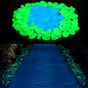 350 Pieces Glow in The Dark Pebbles Glow Garden Decorative Stones Glowing Rocks for Outdoor Garden Lawn Yard Aquarium Plant Pot Bonsai Walkway Driveway Moonlight Yard Plant Decorations, Blue and Green