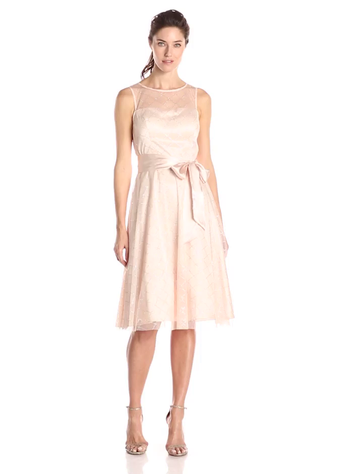 Jessica Howard Women's Sleeveless Illusion Fit and Flare Dress with Tie, Peach, 6