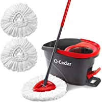 O-Cedar EasyWring Microfiber Spin Mop & Bucket Floor Cleaning System + 2 Extra Refills, Red/Gray