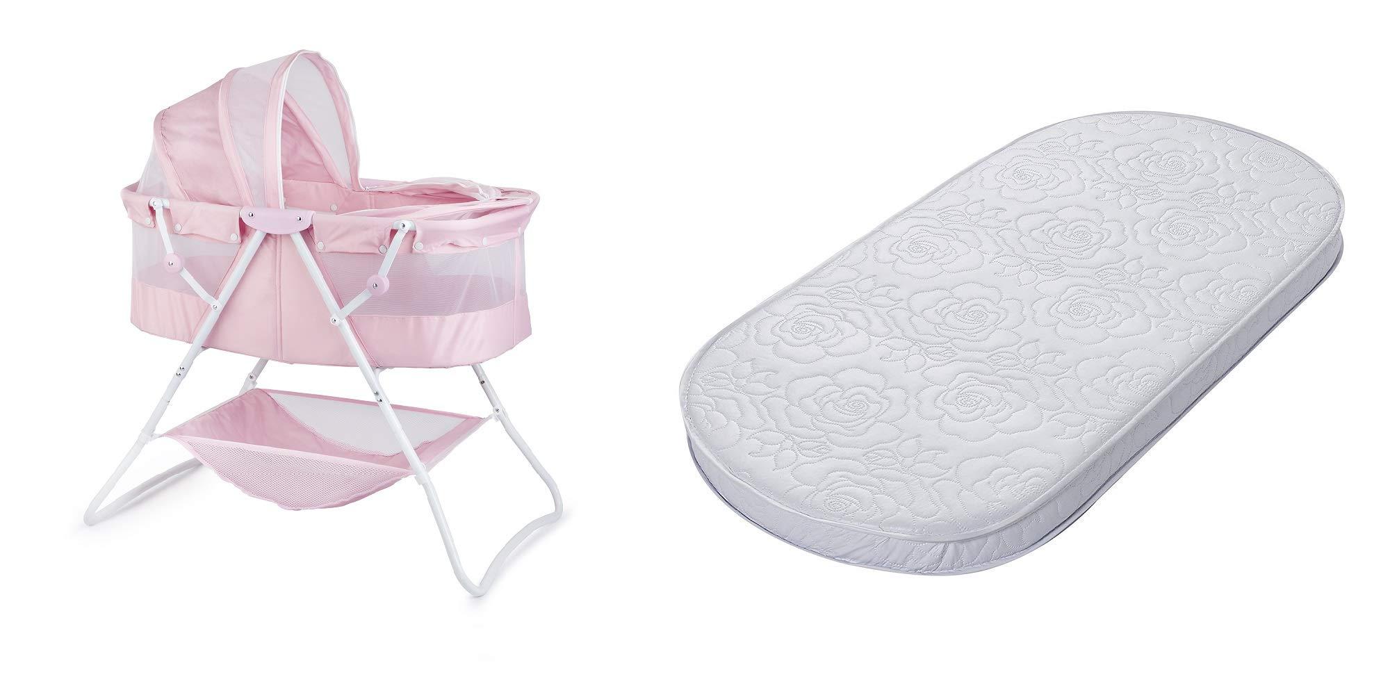 Big Oshi Waterproof Oval Bassinet Mattress and Portable Indoor/Outdoor Bassinet, Pink