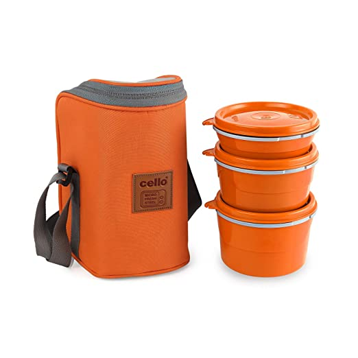 Cello Max Fresh Hot Wave Lunch Box Inner Steel, Orange,  Capacity   225ml, 375ml   550ml  Lunch Boxes