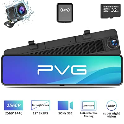 """Mirror Dash Cam Car Backup Camera 12\"""" 2K IPS Full Touch Screen 2560P+1080P Resolution Front and Rear View Dual Lens, Adjustable Wide Angle, WDR Night Vision, Parking Monitor, GPS & 32GB Card Included: Car Electronics [5Bkhe0107885]"""