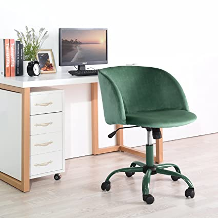 EGGREE Mid Back Swivel Adjustable Home Office Chair Modern Accent Velvet  Fabric Computer Desk Chair With
