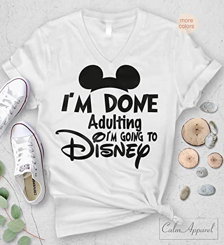 3fb886b10 Amazon.com: I am Done Adulting Lets Go to Disney T-shirt Funny Letter Print  Unisex V-Neck Tops: Handmade