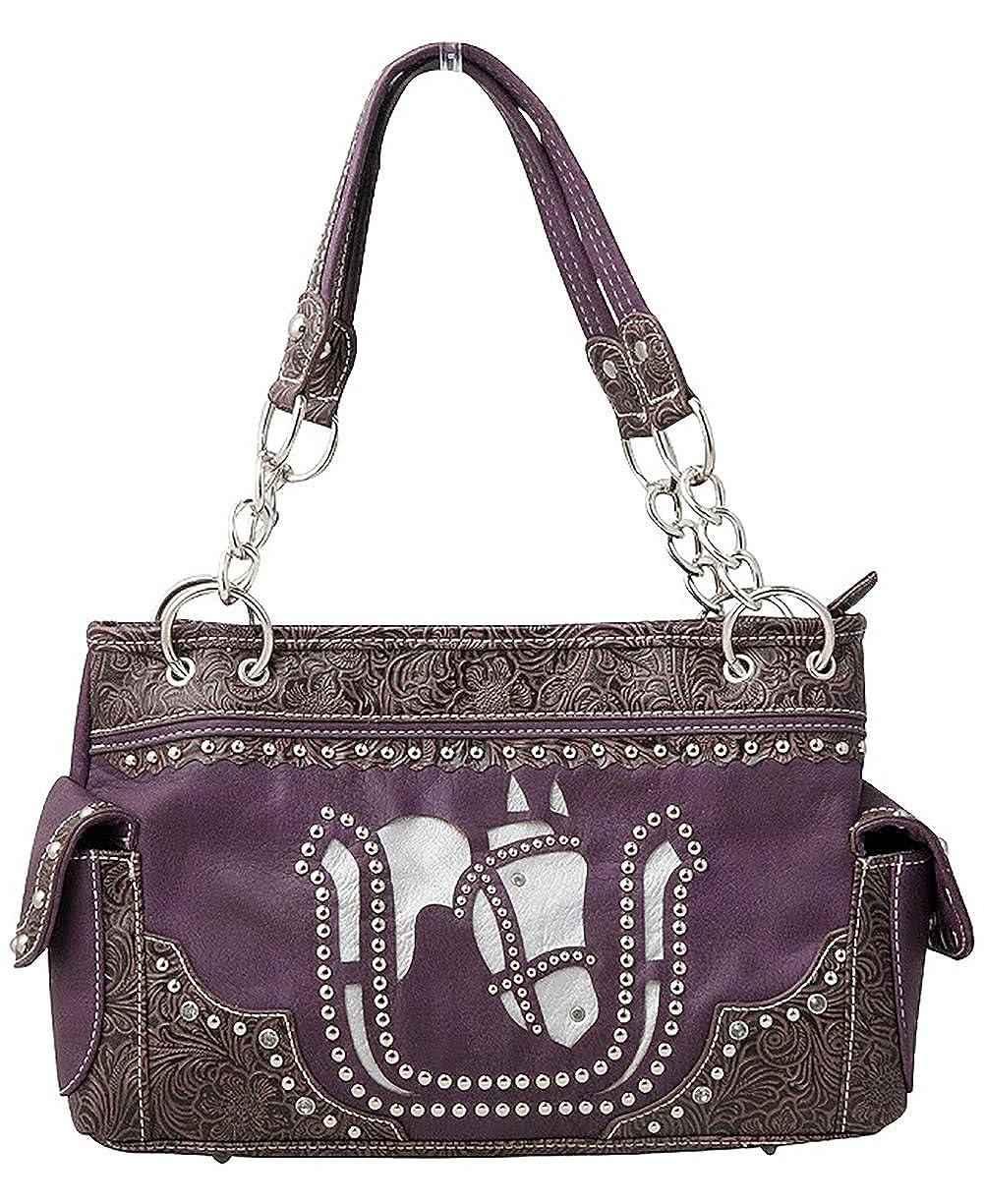 028f5f0cf7 Western White Horse Laser Cut Cowgirl Equestrian Handbag Shoulder Purse  Purple  Handbags  Amazon.com