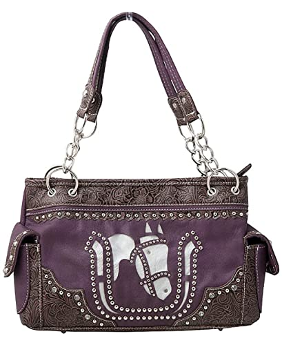 fdf5a776d7 Image Unavailable. Image not available for. Color  Western White Horse  Laser Cut Cowgirl Equestrian Handbag Shoulder Purse Purple