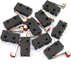 RuiLing 10pcs Micro Limit Switch 3Pin AC 125V/250V 5A Roller Lever Arm Snap Action Normally Open/Close Micro Switch KW12-3