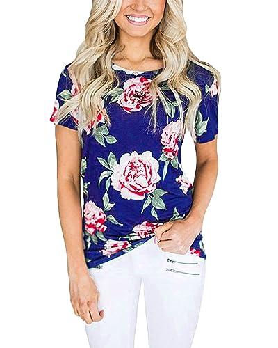 Auxo Mini Vestidos 50's Flores Halter Camiseta Mujer Blusas Larga sin Mangas Max Tops