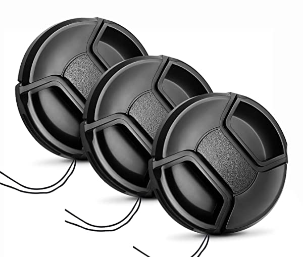 62mm Lens Cap [3 Pack], HonesThing 62mm Camera Lens Protection Cover with 3 Lens Cap Keepers compatible with Canon, Nikon, Sony and any other DSLR Camera (Color: 62mm)