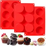 SITANES 3 Pcs Round Chocolate Silicone Molds,Candy & Cylinder Chocolate Covered Oreos Baking Mold for Cookie Cake Candy Puddi