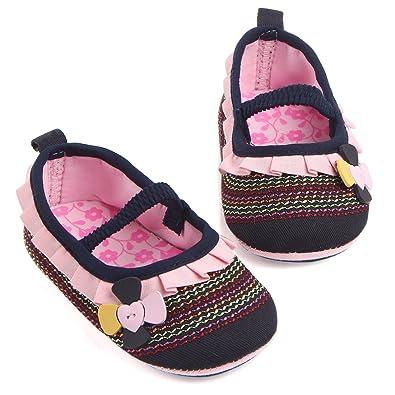 Amazon.com: miyuebb bebé niñas Suela de Goma lona zapatillas ...
