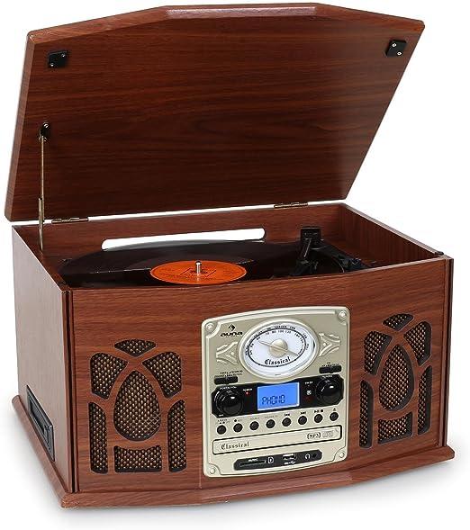 Auna NR-620 Tocadiscos - Reproductor de vinilos y CD: Amazon.es ...