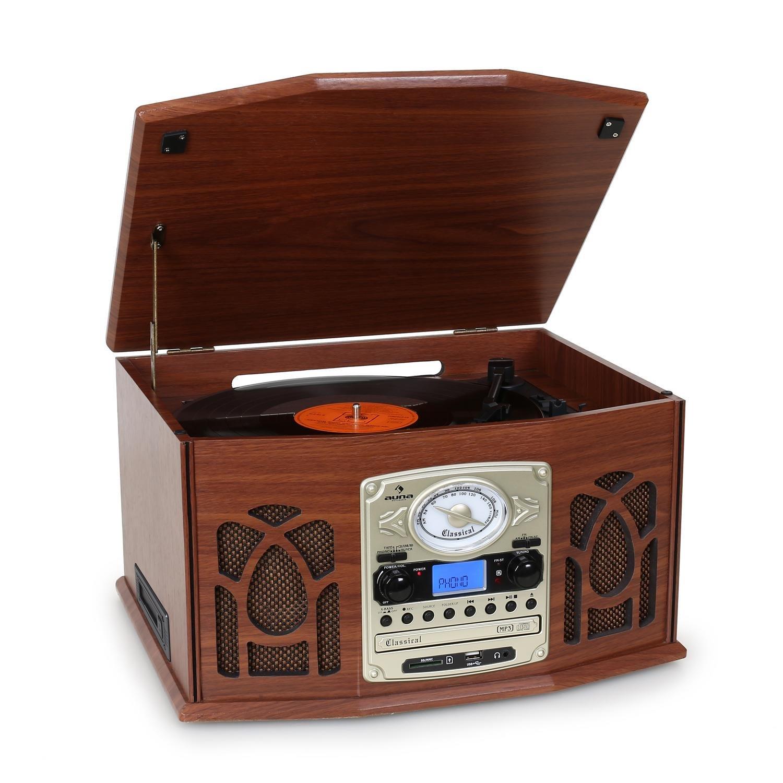 Auna NR-620 Tocadiscos - Reproductor de vinilos y CD - Accionamiento por Correa, Compatible MP3, Radio FM/Am, Altavoces estéreo 2x2W, Entrada USB/SD,