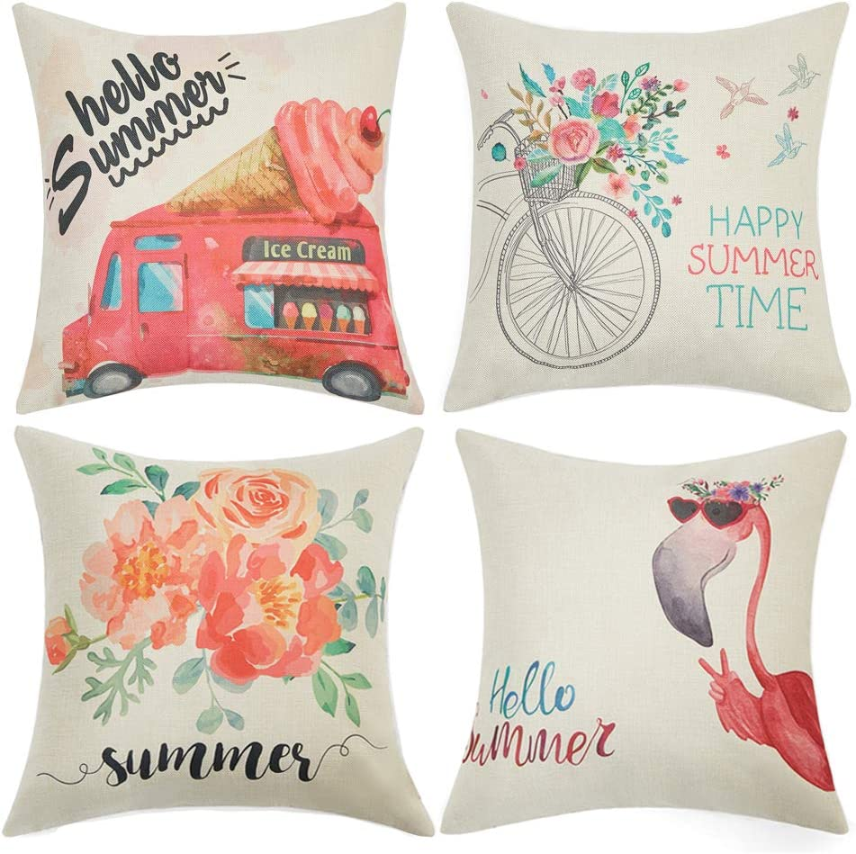 Anickal Summer Decorations Set of 4 Decorative Pillow Covers 18x18 Hello Summer Pink Ice Cream Truck Flamingo Flower Linen Pillow Cases for Summer Home Decor