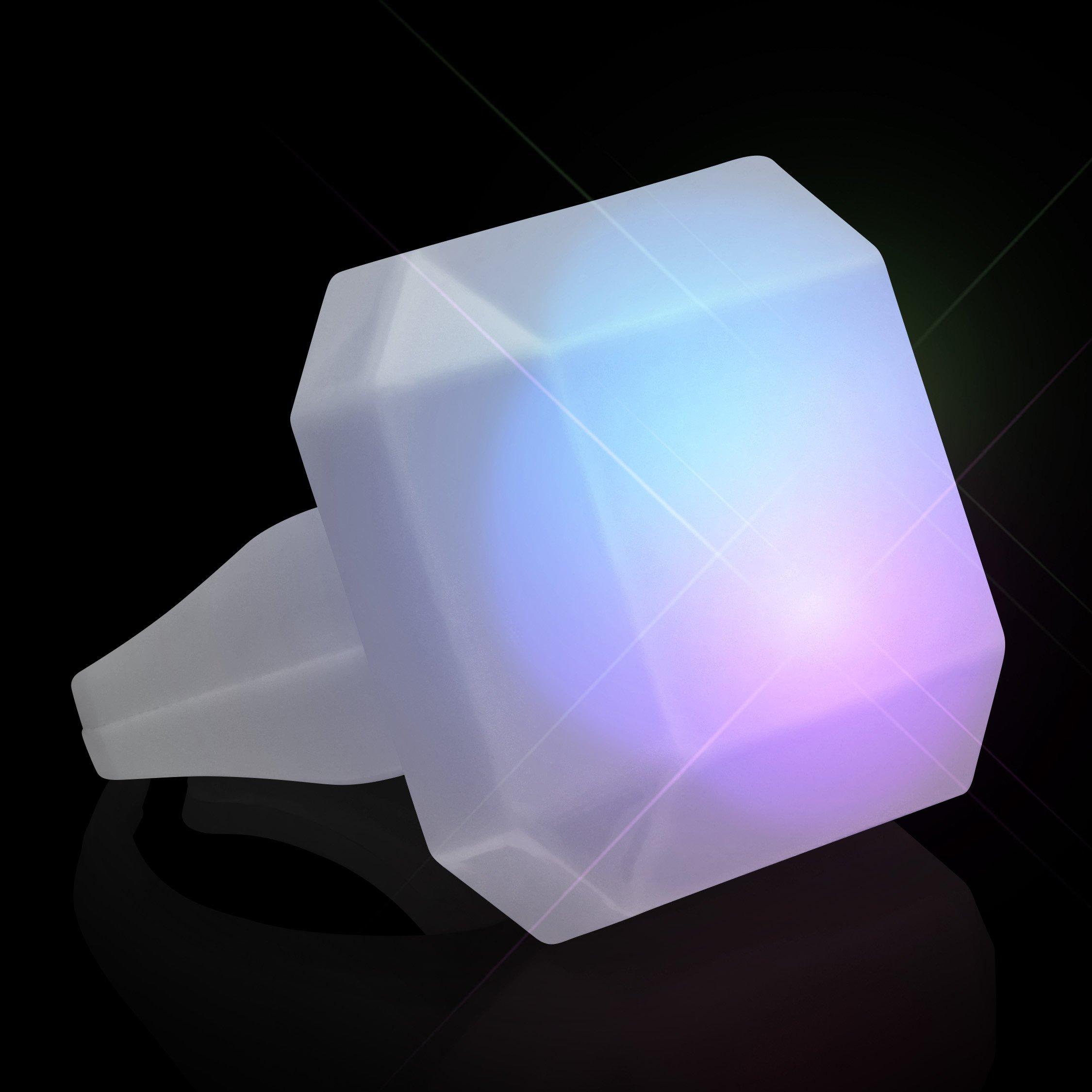 FlashingBlinkyLights Color Changing Emerald-Cut LED Deco Gem Ring (Set of 12)