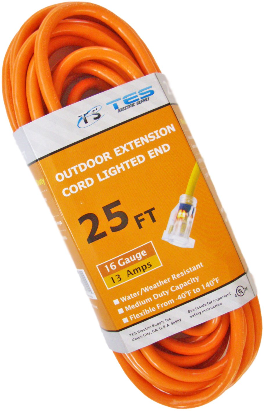 TES 16 Gauge 25 Ft. 16/3 SJTW Medium Duty Extension Cord with Lighted Plug