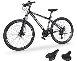 Sirdar S-700 S-800 26/29 inch Mountain Bike for Adult and Youth, 27 Speed Lightweight Mountain Bikes Dual Disc Brakes Suspens
