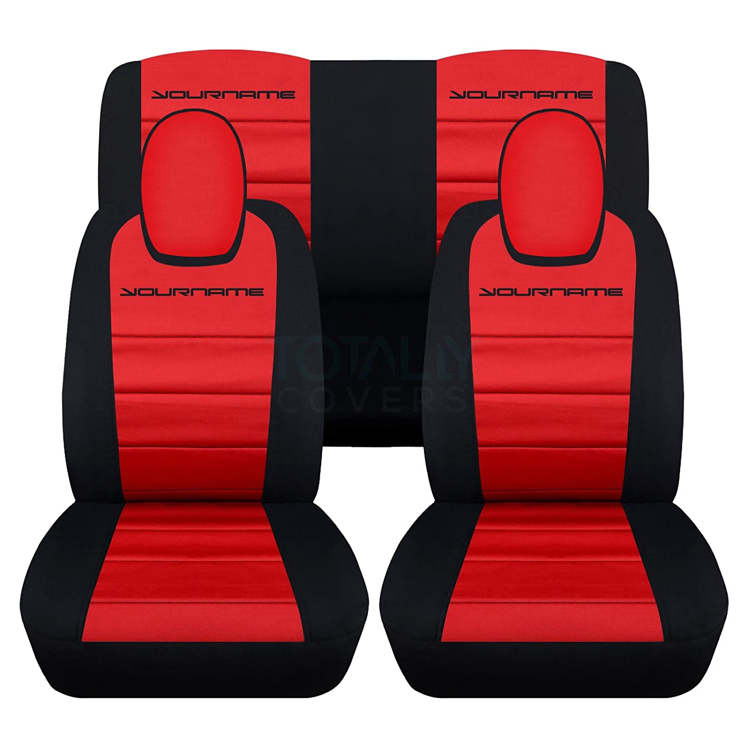 Amazon 2010 2015 Chevy Camaro 2 Tone Seat Covers With Your Name Text Black Red