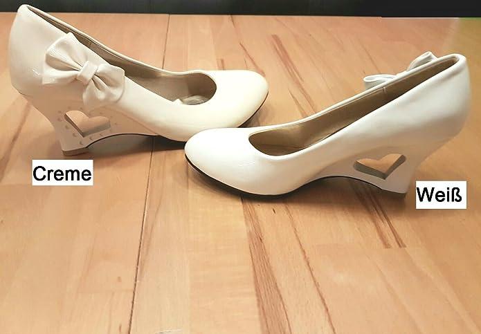 503e45f70b95d8 Pumps 5 Farben Weiß Creme Pink Schwarz Gelb Keil Hochzeit High Heels Schuhe  Brautschuhe Braut Damenschuhe  Amazon.de  Schuhe   Handtaschen