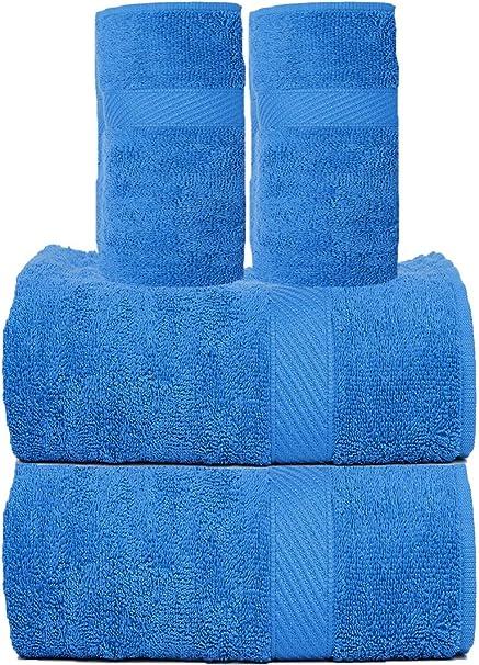 Trident Lot de 10 Serviettes de Bain et Serviette de Toilette Bleu Fluo 450 g//m/²