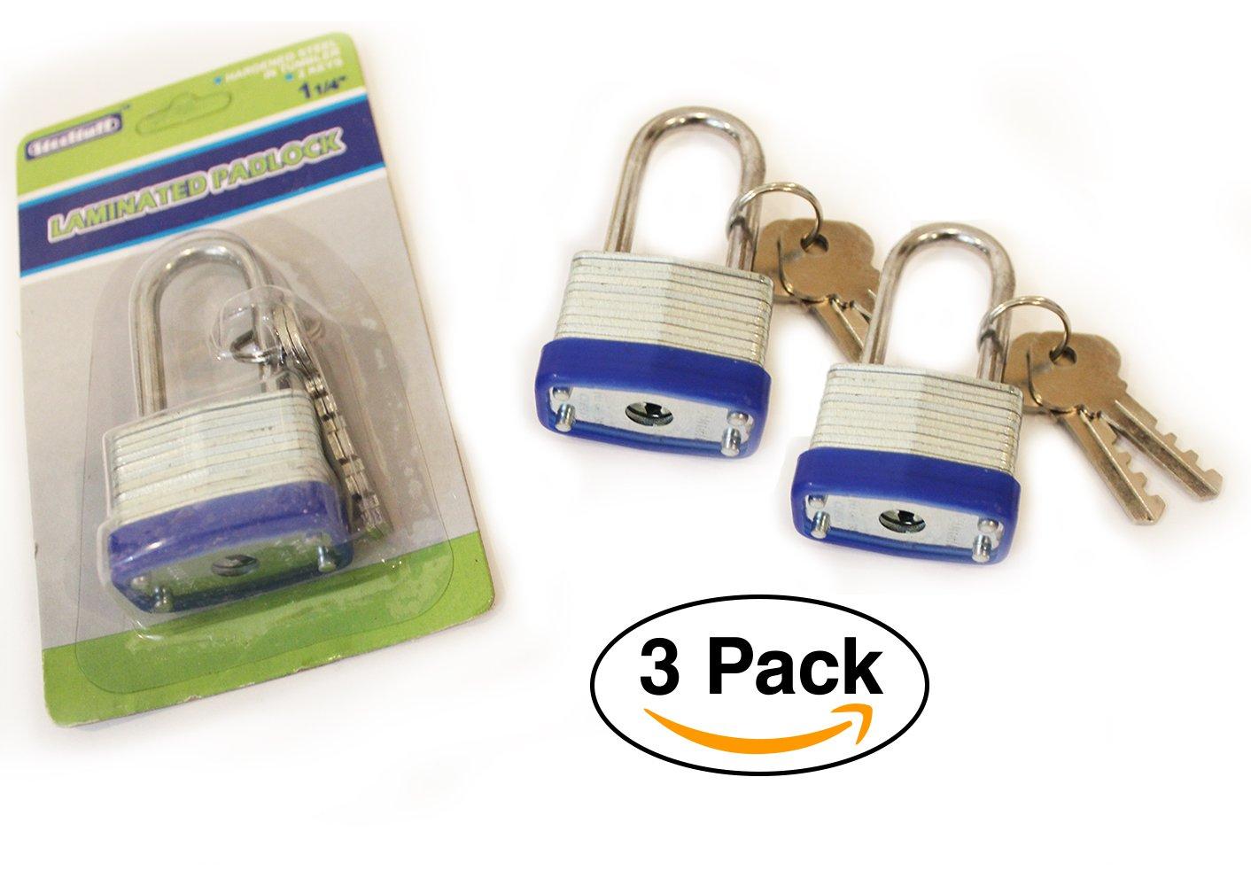 3 pack - Mini Steel Padlock with key – laminated, For Gates, Sheds, Lockers, Bikes, Tool Box
