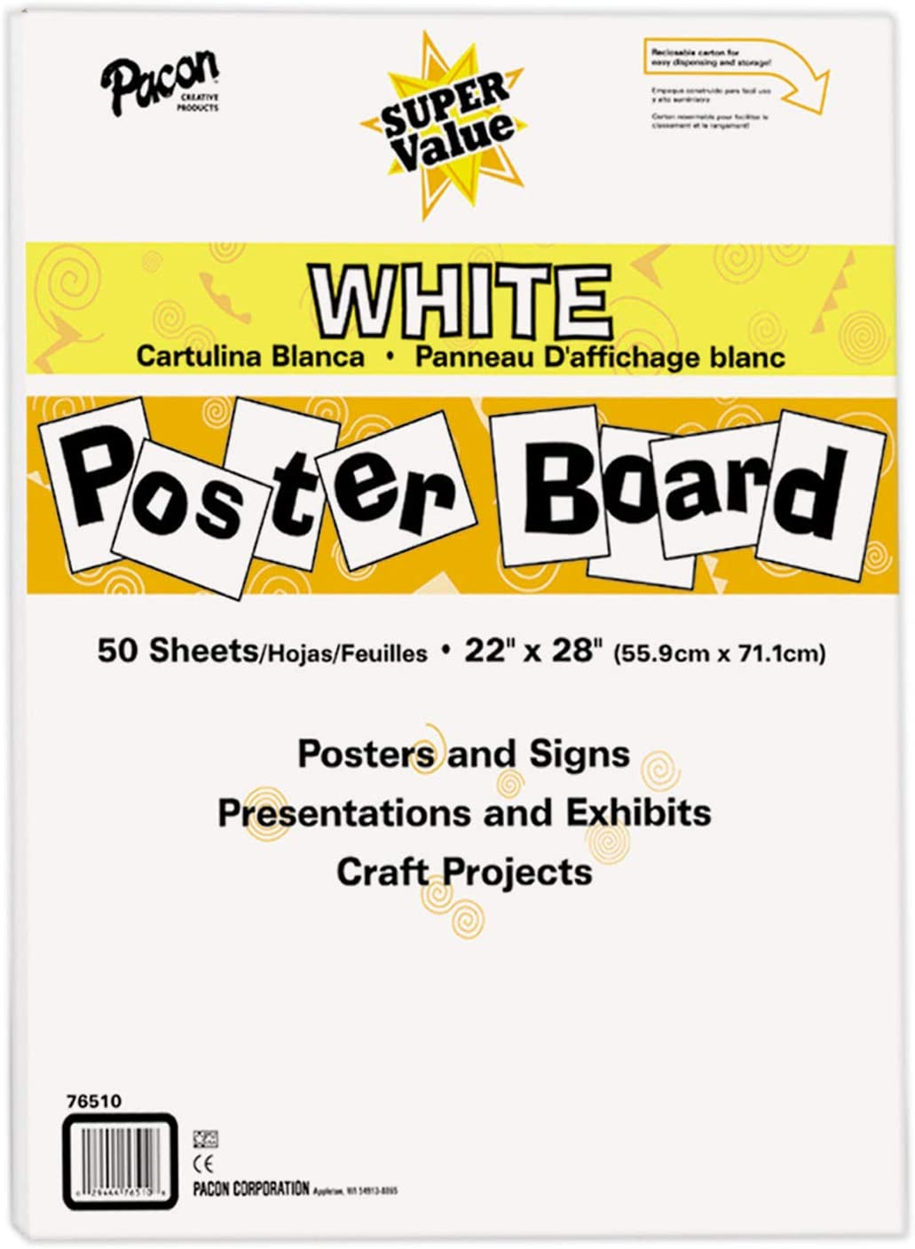 "Pacon Super Value Poster Board, 22""X28"", White, 50 Sheets : Ordinary Display Boards : Office Products"