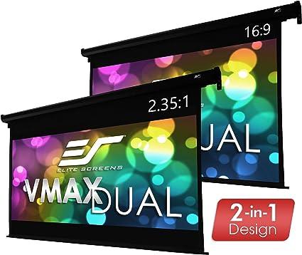 Amazon Com Elite Screens Vmax Dual 100 16 9 95 2 35 1 Dual Format Wall Ceiling Motorized Cinema Projector Screen Vmax100h95c Home Audio Theater