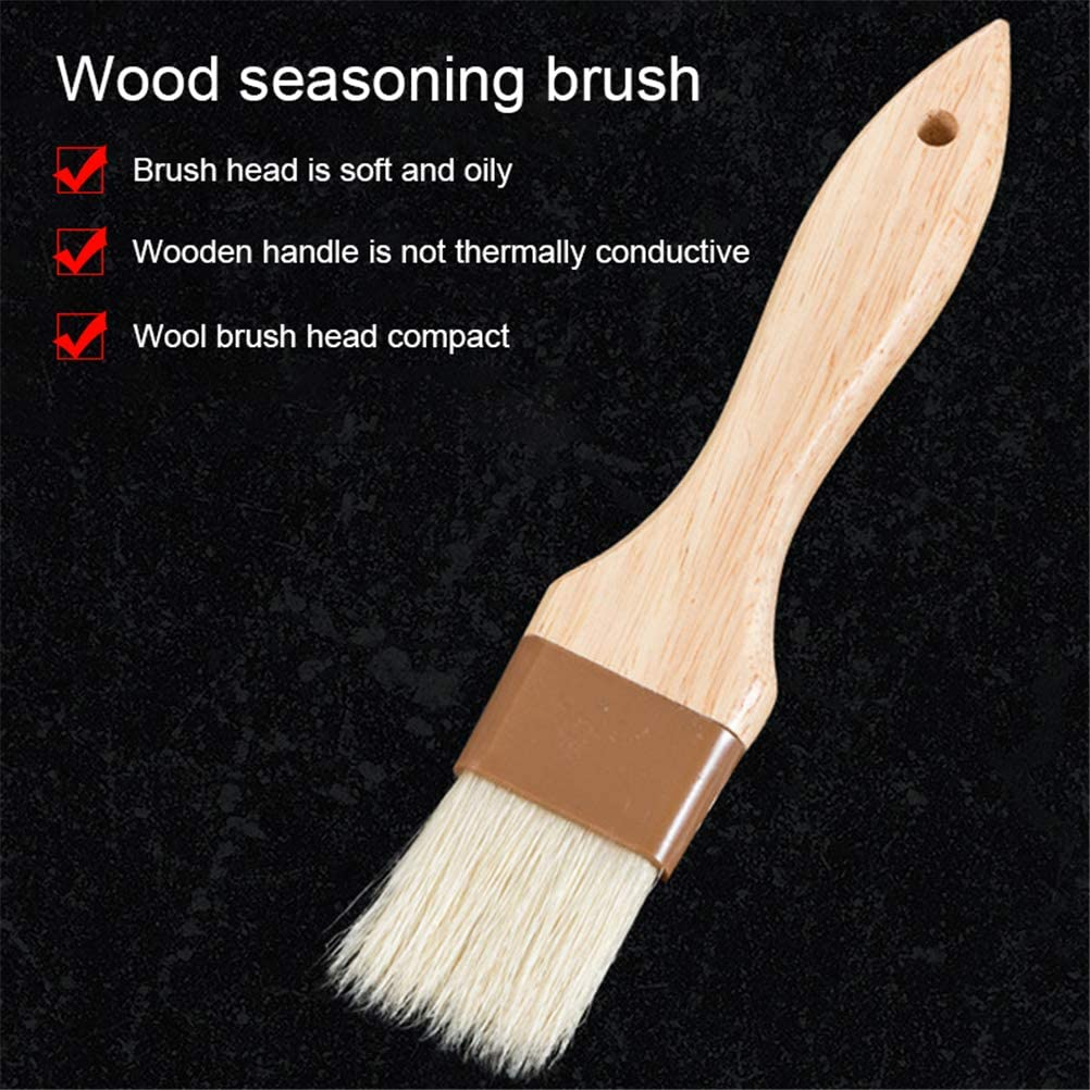 4 Pieces Pastry Brushes Width Basting Oil Brush with Boar Bristles and Beech Hardwood Handles Barbecue Oil Brush for Spreading Butter Cooking Baking Brush