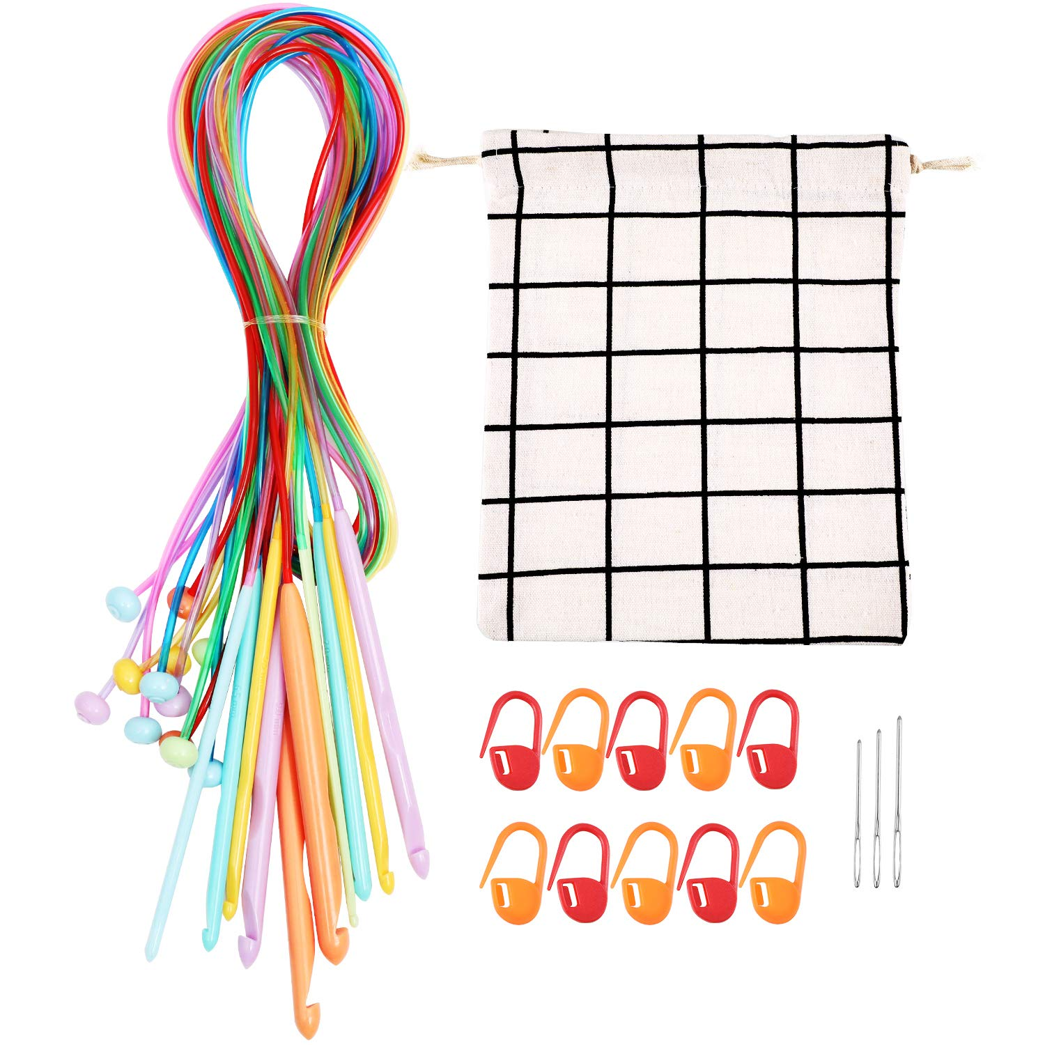 12 Pieces Afghan Tunisian Carpet Crochet Hooks Afghan Plastic Carpet Knitting Needles with Bag, 10 Pieces Stitch Markers and 3 Pieces Blunt Yarn Needles