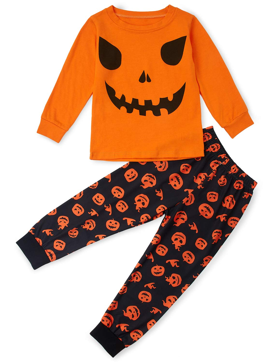 Halloween Pajamas for Boys Size 7,Size 6 Squash Print Personalized Family Loungewear for Girls Summer Autumn Loose Nightwear Overalls Orange 1 Set Size 7