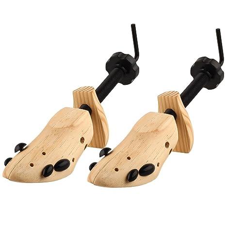 S & L Unisex profesional 2Vías zapatos árbol Camilla tamaño 4–13, ajustable Longitud y anchura, madera Shaper Set de 2, Wooden yellow, S(3-5.5)-Women&Men